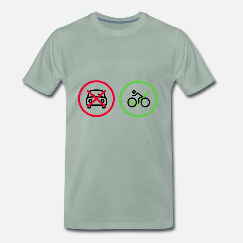 Bicyclette T-Shirts - No Car Yes Bike Bicycle Car - Men's Premium T-Shirt steel green