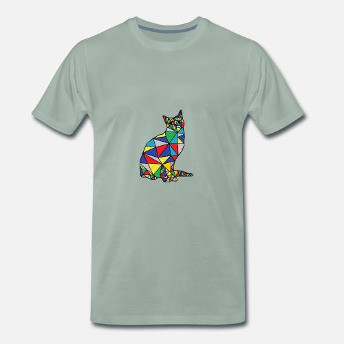 Geometryczny Kot Premium Koszulka Męska Spreadshirt