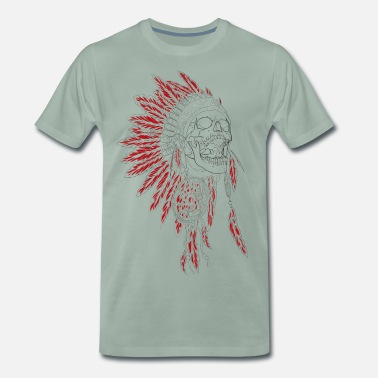 Indian Chief Silent Scream - Indians, feather ornaments, chief - Men's Premium T-Shirt