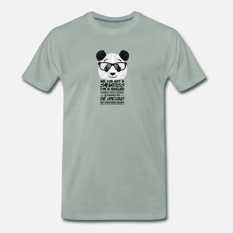 Animal Lover T-Shirts - Cool Panda bear with glasses & know-it-all saying - Men's Premium T-Shirt steel green