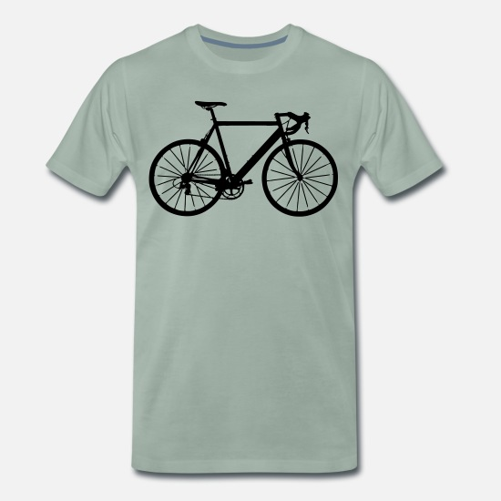 Fiets T-shirts - bike bicycle sport - Mannen premium T-shirt grijsgroen