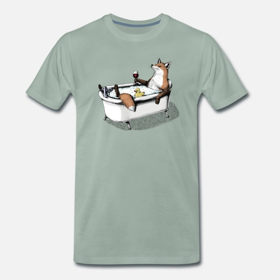 Animal T-Shirts - Fox Bath - Men's Premium T-Shirt steel green