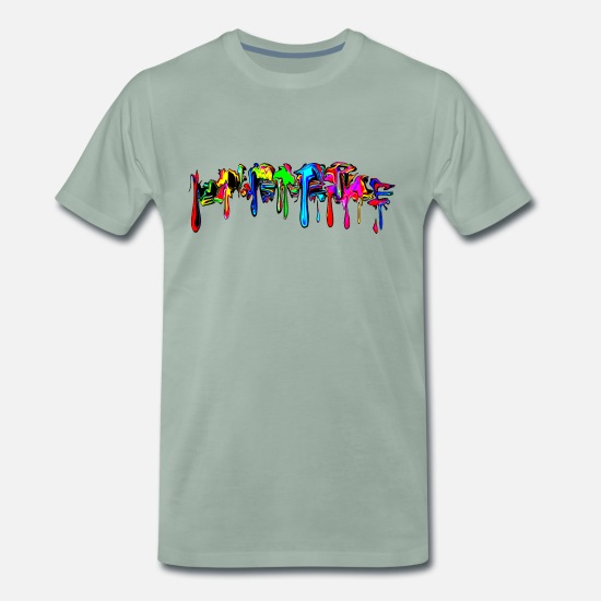 Cool T-Shirts - Color, rainbow, graffiti, splash, paint, comic - Men's Premium T-Shirt steel green