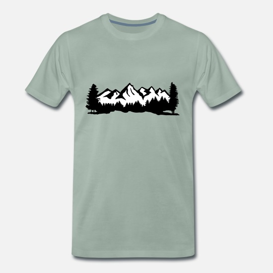 Forest Animal T-Shirts - Mountains with snow, forest and trees - Men's Premium T-Shirt steel green