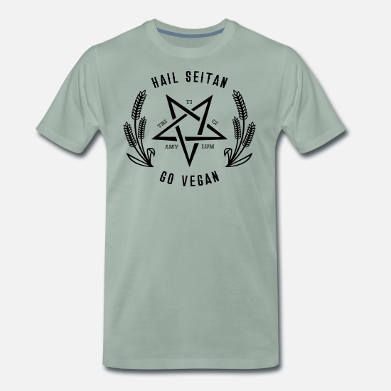Rock T-Shirts - Hail Seitan - Go vegan - Men's Premium T-Shirt steel green