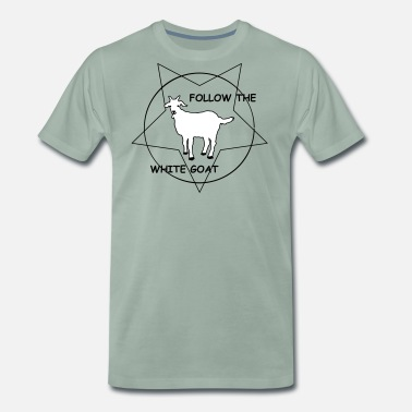 Satanic White goat Satanism Matrix conspiracy secret - Men's Premium T-Shirt