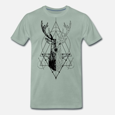 Stags Head Geometric stag - Men's Premium T-Shirt
