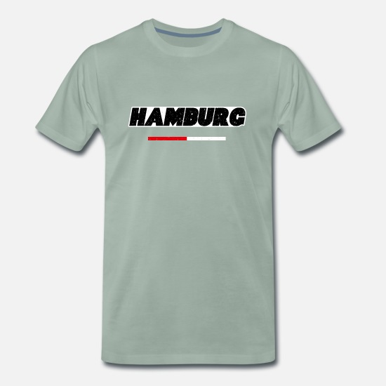 Gift Idea T-Shirts - Hamburg red white Germany gift - Men's Premium T-Shirt steel green