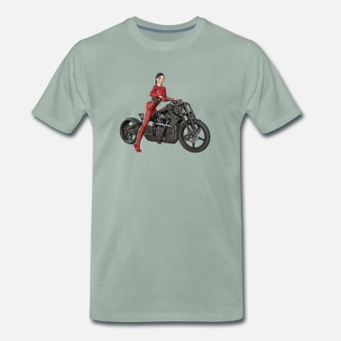 Pose Biker girl, sexy woman with motorcycle - Men's Premium T-Shirt