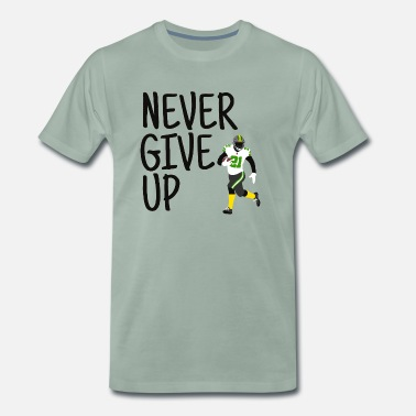 Never Give Up - American Football (groen, zwart) - Mannen premium T-shirt