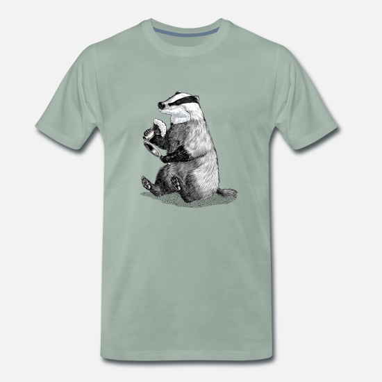 Badger T-Shirts - Badger Shaving - Men's Premium T-Shirt steel green
