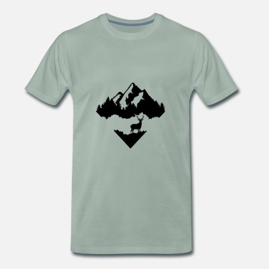 Trees Deer, Forrest and Mountains - Men's Premium T-Shirt