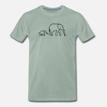 Ivory Elephant mother and baby - Men's Premium T-Shirt