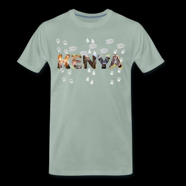 KENYA - animal pictures letters with footprints - Men's Premium T-Shirt