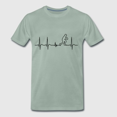 Heartbeat rugby player cool fun funny gift - Men's Premium T-Shirt