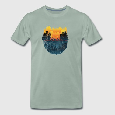 Gift deer deer antler silhouette forest hunter - Men's Premium T-Shirt
