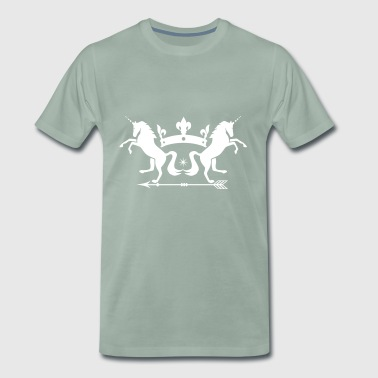 Unicorns horses with crown and arrow - Men's Premium T-Shirt