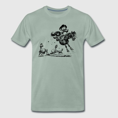 Thelwell 'Cowboy Western riding' - Men's Premium T-Shirt
