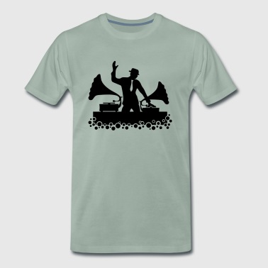 Gramophone DJ, Music, Swing, Bubbles, Records - Men's Premium T-Shirt