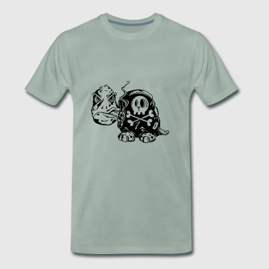 Skull turtle - smoker - cigarette skull - Men's Premium T-Shirt