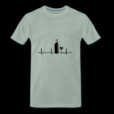 ECG HEARTLINE WINE / WINE BOTTLE / WEINGLAS Black - Men's Premium T-Shirt