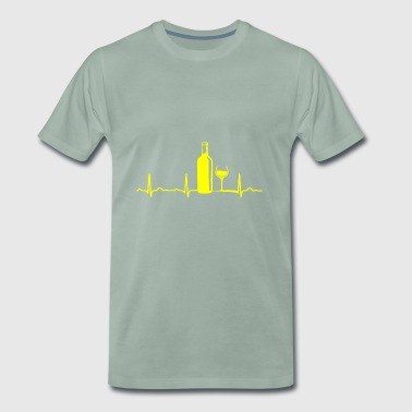 ECG HEARTLINE WINE / WINE BOTTLE / WEINGLAS Yellow - Men's Premium T-Shirt
