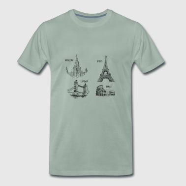 The 4 monuments of Europe - Men's Premium T-Shirt