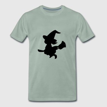 Witch on broom - Men's Premium T-Shirt