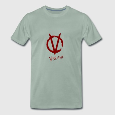 V for Vegan red - Männer Premium T-Shirt