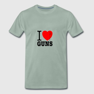 I love guns! Weapons satire. Bullet hole with blood - Men's Premium T-Shirt
