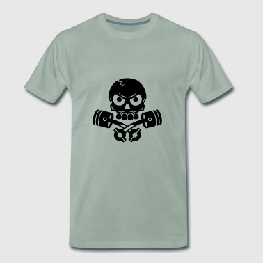 Piston Skull, skull and crossbones design - Men's Premium T-Shirt