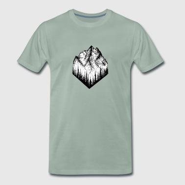 Mountain landscape drawing - Men's Premium T-Shirt