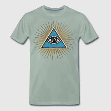 All-seeing Eye, Triangle, Pyramid, Vintage, God - Men's Premium T-Shirt
