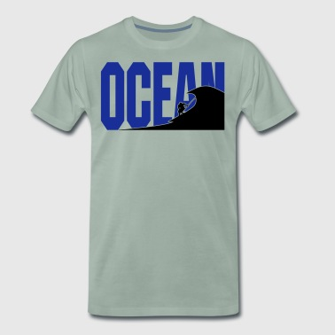 Sup surfer in wave silhouette ocean - Men's Premium T-Shirt