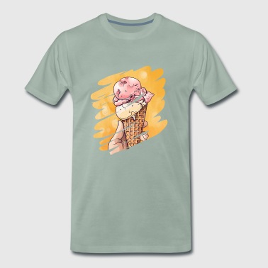 Ice cream man eat ice cream design 2018 - Men's Premium T-Shirt