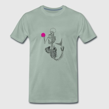 Black Mermaid Skelleton Pink Ball - Men's Premium T-Shirt