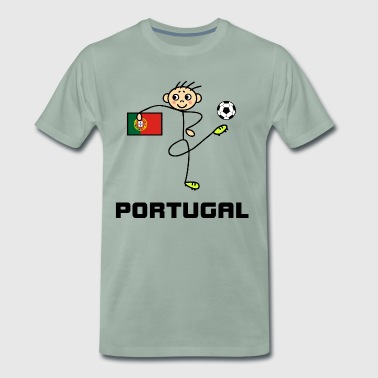 Portugal stick figure football player - Men's Premium T-Shirt