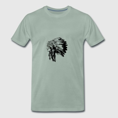 Visage Indien Amerique Illustration - T-shirt Premium Homme