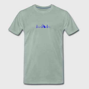 ECG HEARTBEIGE GEIGE blue - Men's Premium T-Shirt