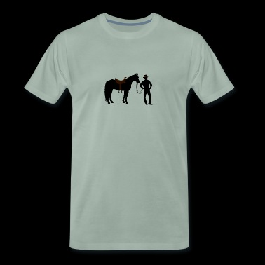 Cowboy with horse - Men's Premium T-Shirt
