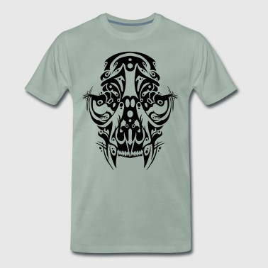 Crâne de chat tribal - T-shirt Premium Homme