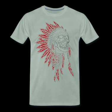 Silent Scream - Indians, feather ornaments, chief - Men's Premium T-Shirt