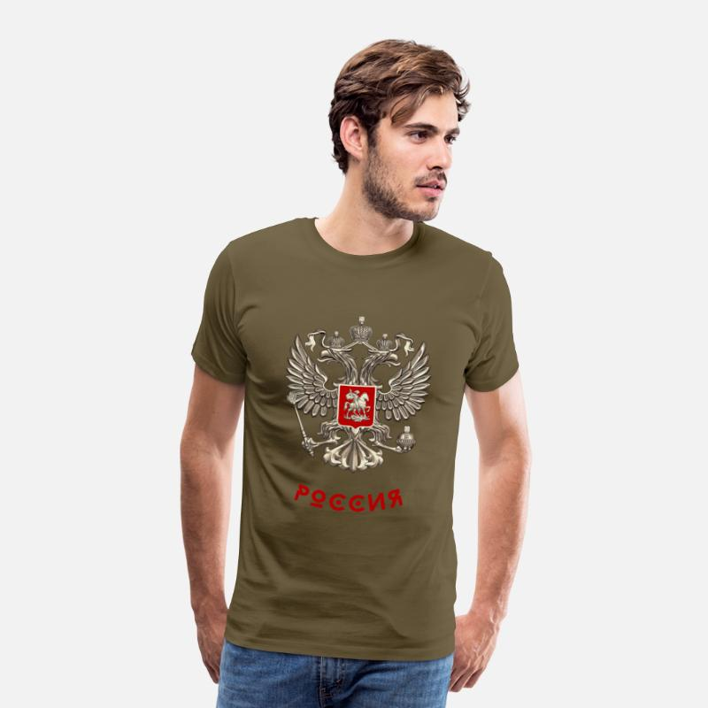 Russian T-Shirts - russia football russia coat of arms cyrillic putin lol - Men's Premium T-Shirt khaki