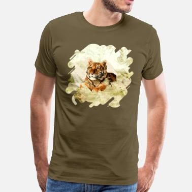 Mixed Media Tiger Cub - Mixed Media Digital art - Men's Premium T-Shirt