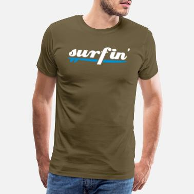 Two Coloured surfin surfboard two colours - Men's Premium T-Shirt
