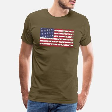 Stars And Stripes AVM WWII Trashed 48 star flag in color D'Day - Men's Premium T-Shirt