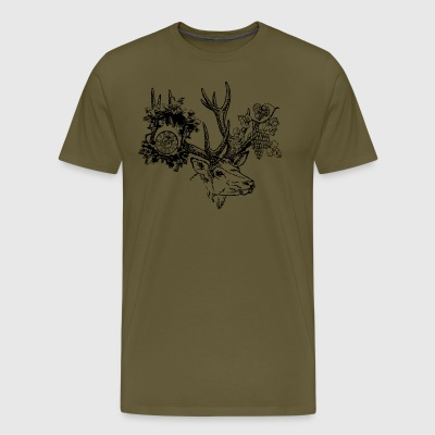 Deer with clock and grapes - Men's Premium T-Shirt