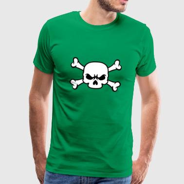 Skull and Bones | Piratenflagge - Premium T-skjorte for menn
