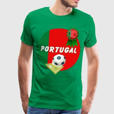 Football Pitch Portugal Football Team Supporter Rosette Ball & Pitch - Men's Premium T-Shirt