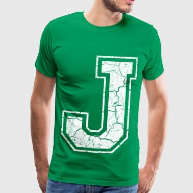 Letter J in white in the used look - Men's Premium T-Shirt